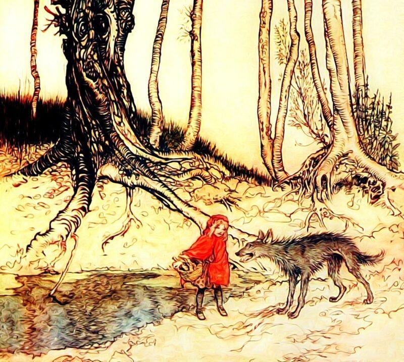 Jacob i Wilhelm Grimm - Czerwony Kapturek; Rys. PIXABAY (user:Prawny)